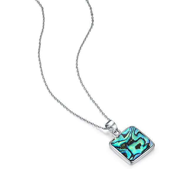 WISHMISS Square Pendant Necklace In Abalone Shell Good Graduation Gift Idea for Teens