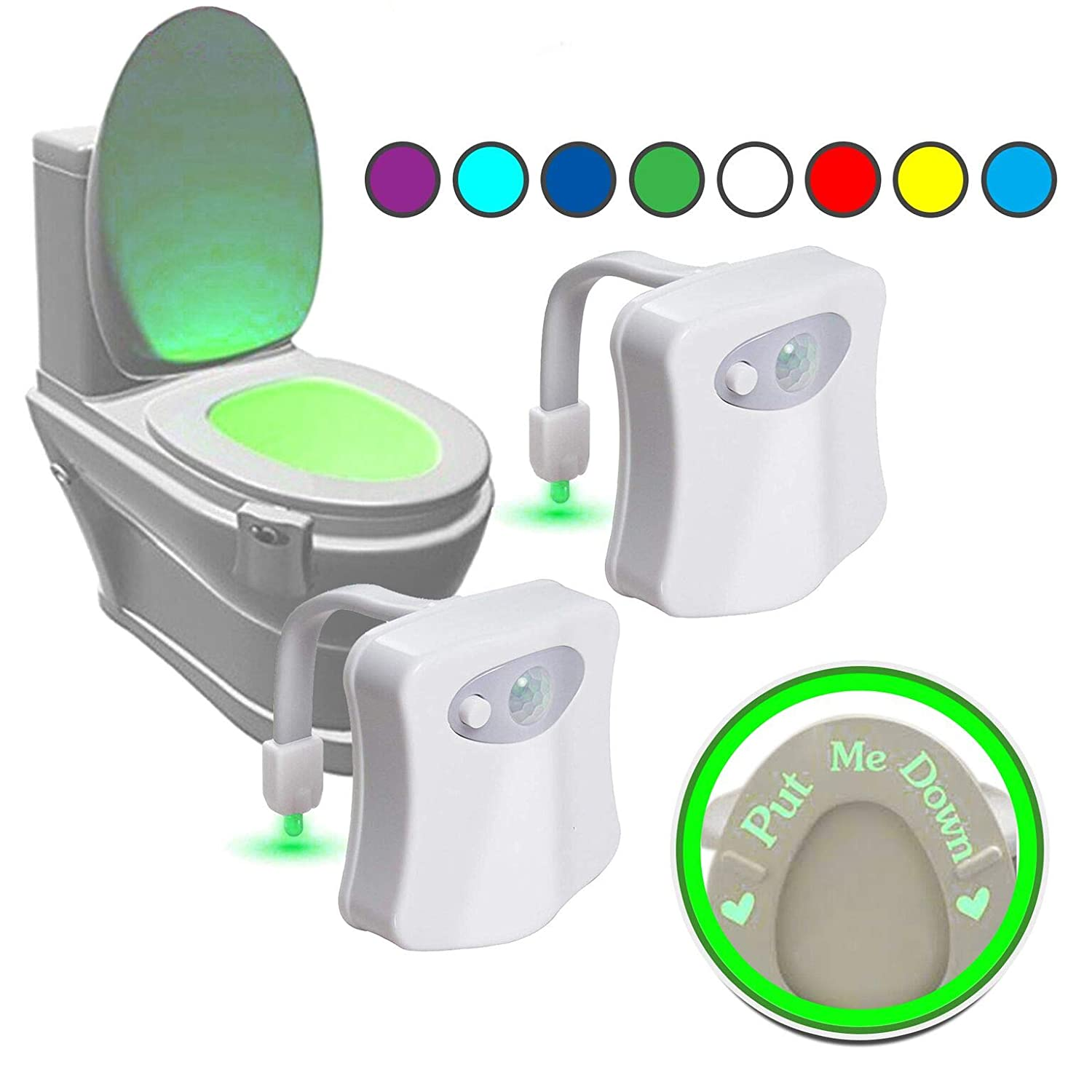 2 Pack Toilet Light with'Put me Down' Sticker That Glows in The Dark. The Original Light Bowl, 8 Colors in 1 Device Motion Activated Night Light. Great Tool to Potty Train Toddlers SAIF-LIFE