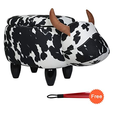 Animal Ottoman Upholstered Ride-On Ottoman Leather Footrest Stool,Changing Shoes,Animal Shape Toys,Home Decoration Children s Toys Gift Cartoon Cattle Animal Stool,With Storage Black White Cow
