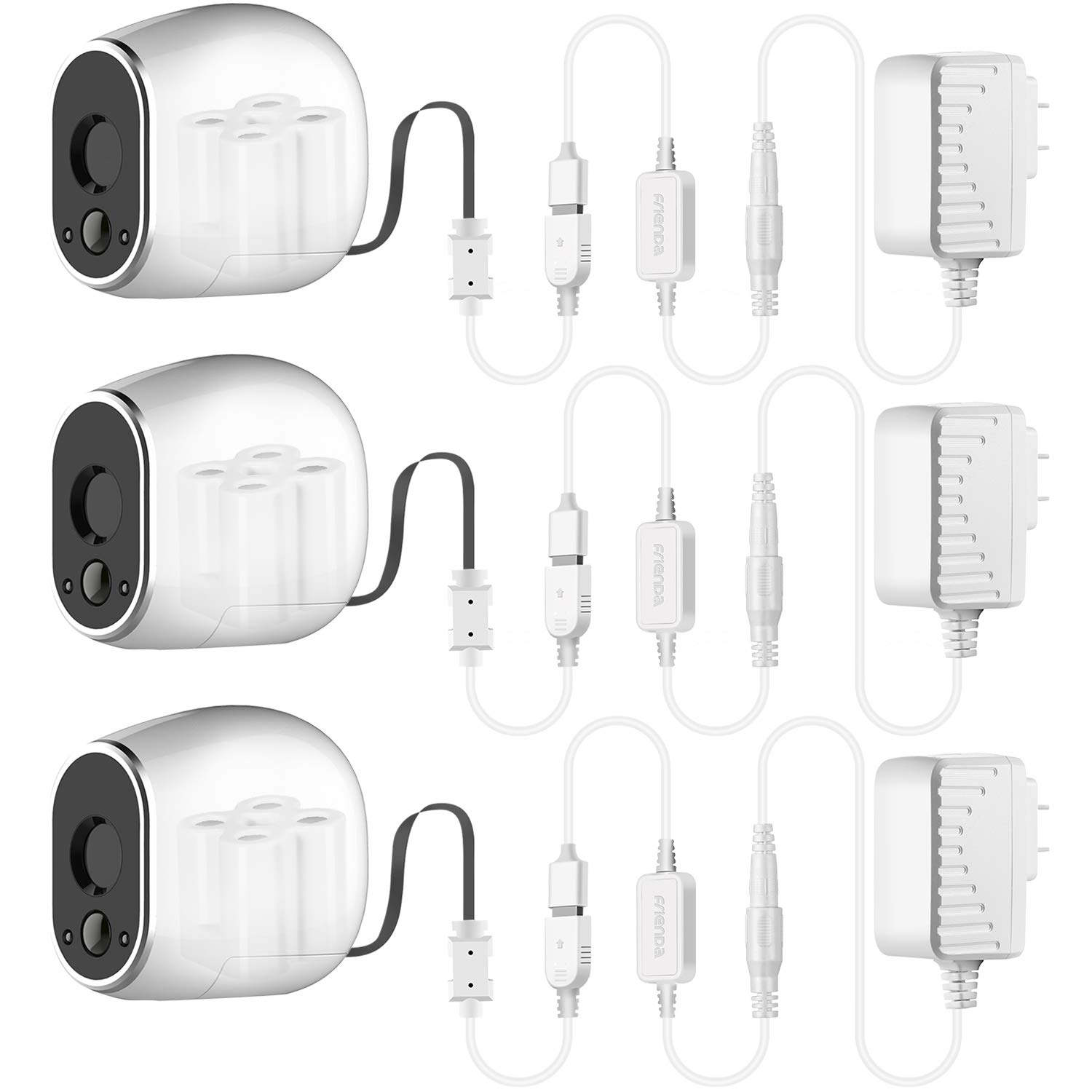 Frienda Adapter with 20 Feet/6 m Power Cable Compatible with Arlo (Replace CR123A), Weatherproof Outdoor to Continuously Operate Arlo, Not Compatible with Alro Pro and Arlo 2 (3 Pack, White)