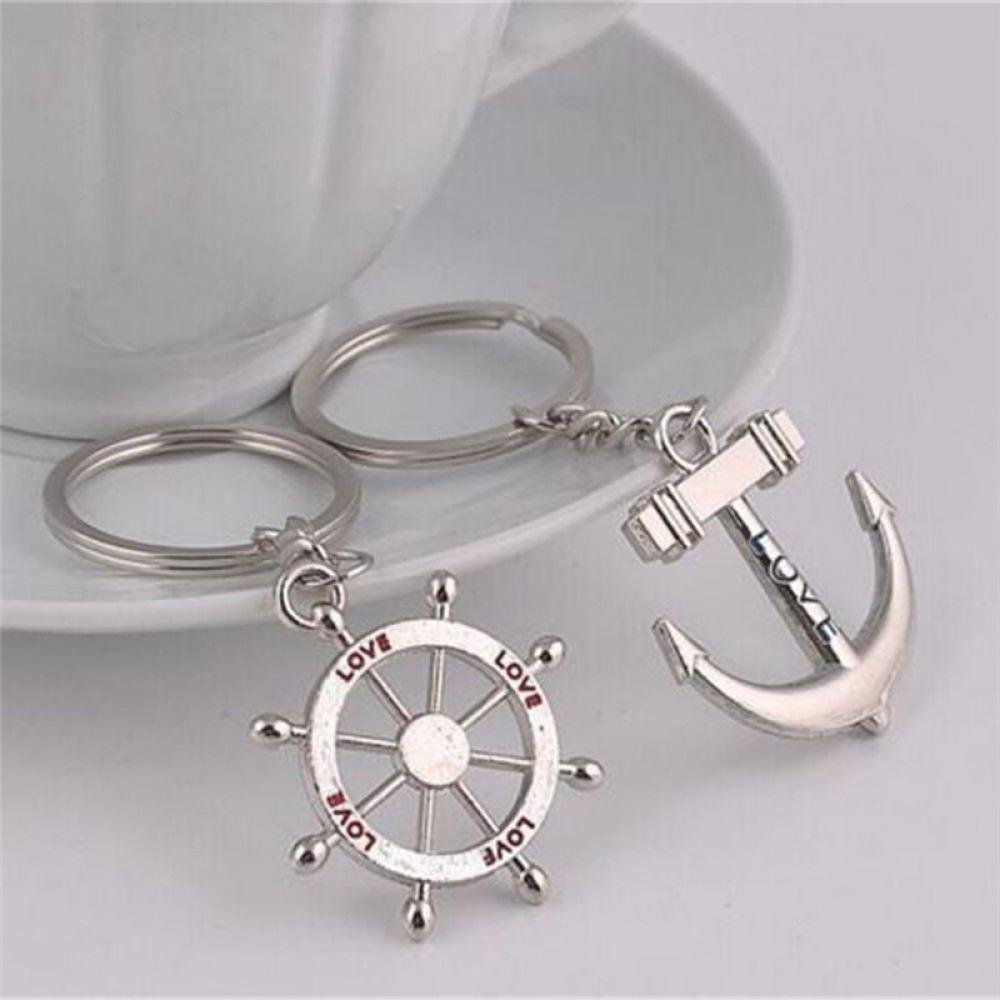 HFY 1 SET FATHERS DAY KEYRING WITH AN ANCHOR AND A SHIPS WHEEL HARDWARE FOR YOU