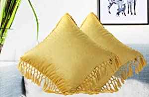 "Meaning4 Velvet Decorative Euro Throw Pillow Cases Cushion Covers with Tassels Fringe Soft Solid Square 26""x26"" Pack of 2 Gloden Yellow for Christmas Couch Sofa Car Bed Daybed Chair"