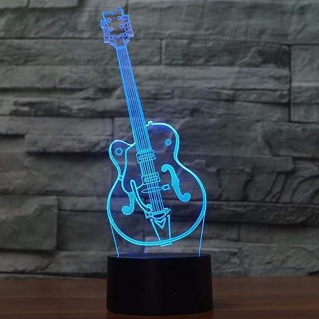 3D Illusion Artisticos guitarra Lámpara luces de la noche ajustable 7 colores LED Creative Interruptor táctil