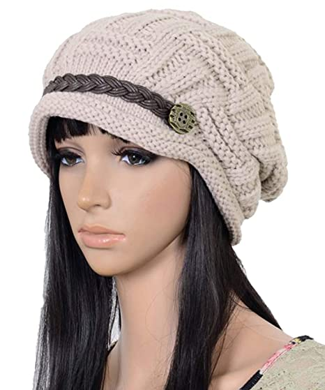 Elacucos Women Winter Beanie Cabled Checker Pattern Knit Hat Button