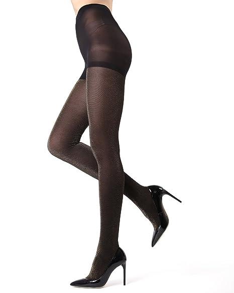 d5bead9064e MeMoi Stockholm Glitter Tights - Beautiful Glam Legwear for Women Black Gold  MO 357 Small
