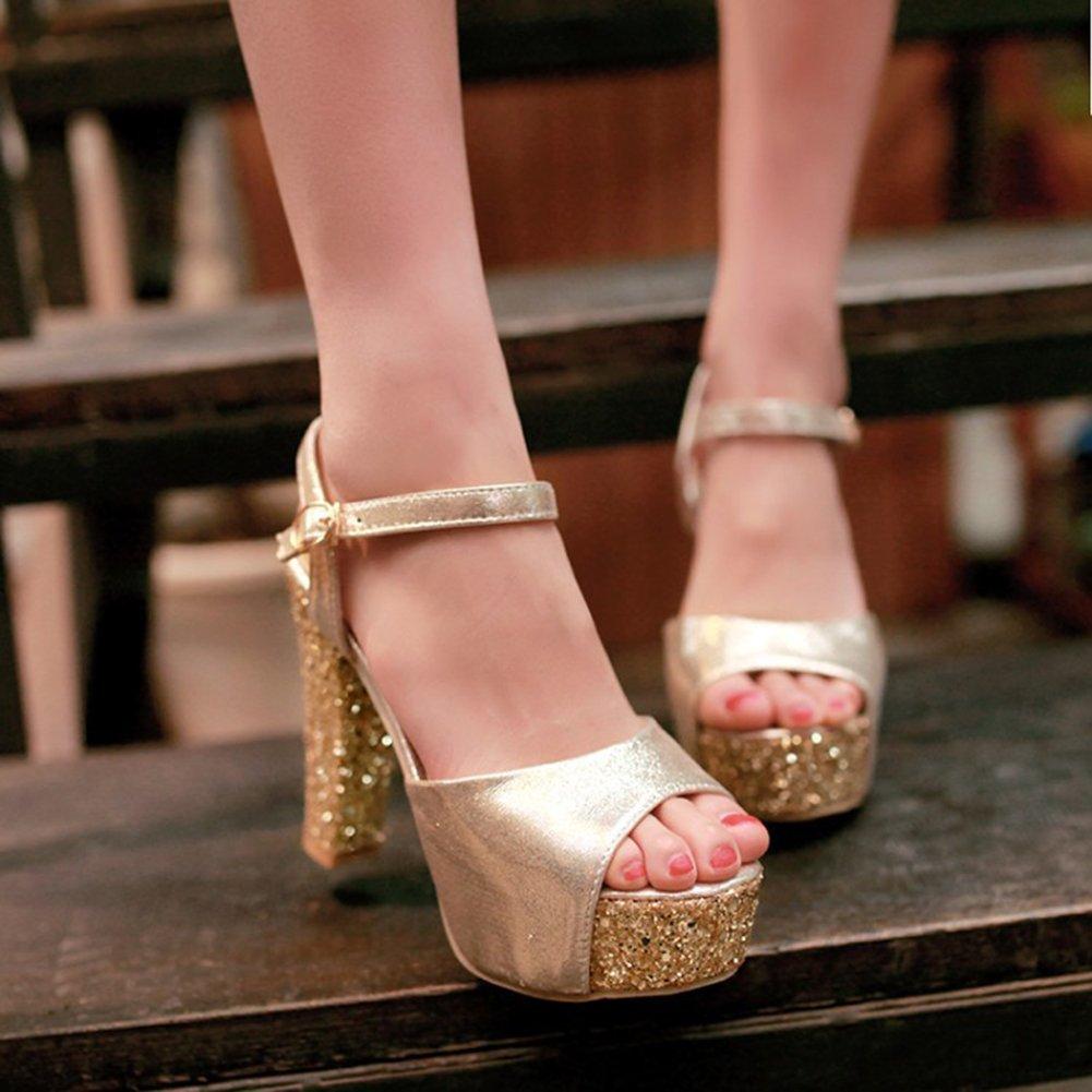 Aisun Damen Abendschuhe Sommer Kunstleder Paillette Plateau Knöchelriemchen Sandale Abendschuhe Damen Gold 8cee02