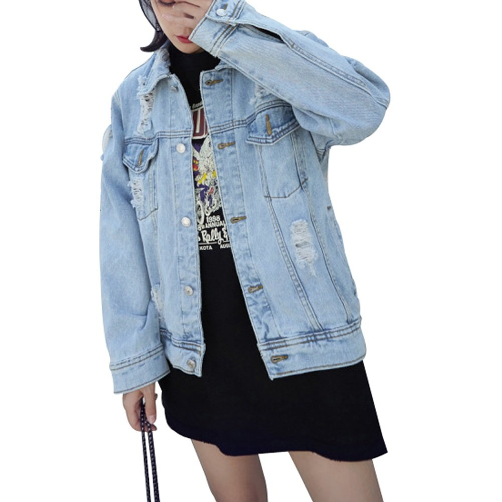 cbcc881800c73 JudyBridal Oversize Denim Jacket for Women Ripped Jean Jacket Boyfriend  Long Sleeve Coat larger image