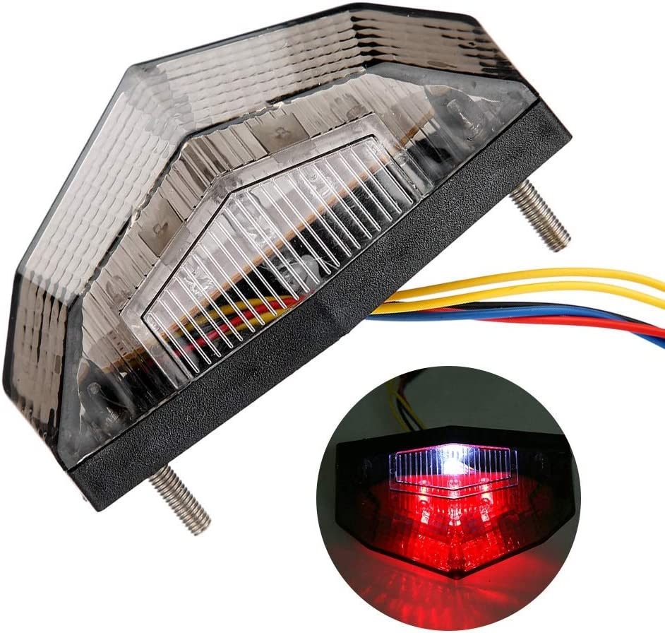 Motorcycle Brake Taillight,Retro Motorcycle Modification LED Brake Taillight Tail Warning Signal Light Integrated Turn Signal Lamp Indicators Powersports Tail Light Assemblies