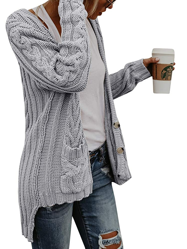 a1553976bc Faisean Womens Button Down Grandad Long Sleeve V Neck Pocket Irregular Hem Cardigan  Sweater at Amazon Women s Clothing store