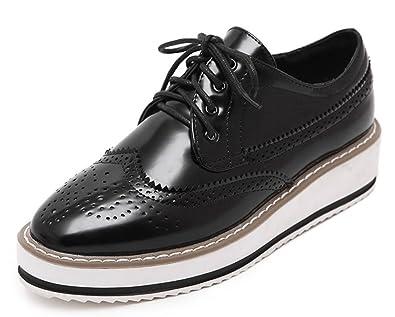 Easemax Damen Fashionable Runde Zehen Durchgängiges Plateau Brogue Sneakers Schwarz 34 EU YROFKvvP