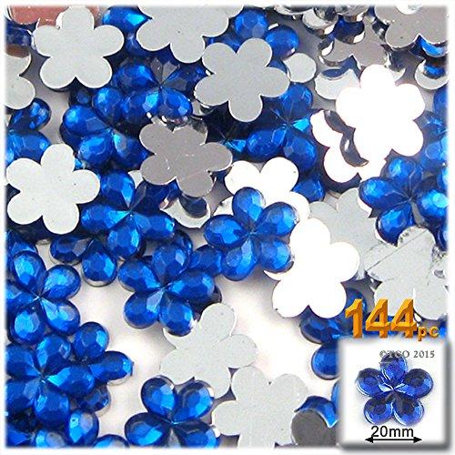 The Crafts Outlet 144-Piece Acrylic Aluminum Foil Flat Back Flower Rhinestones, 20mm, Royal Blue