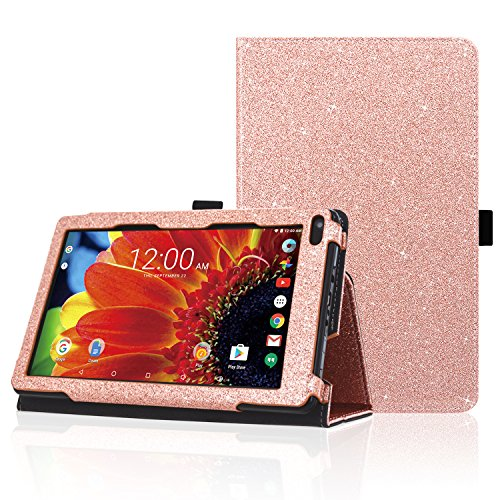 "ACdream RCA Voyager 7 Case, Folio Premium PU Leather Cover Case for RCA Voyager 7"" 16GB/8 GB Tablet Android 6.0 (Marshmallow), Rose Gold Star Star of Paris"