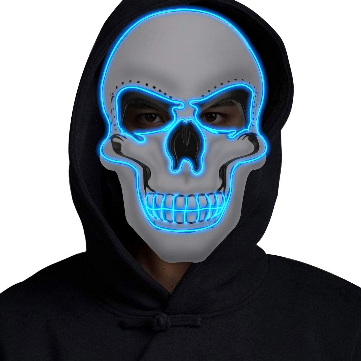 Halloween Light Up Skull Mask EL Wire Cosplay Rave Party Woman Man Costume Prop