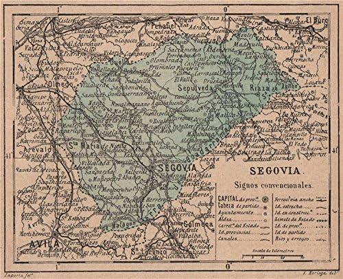 Segovia Castilla y León. Mapa Antiguo de la Provincia – 1908 – Old Antiguo Mapa Vintage – Mapas de Impreso de España: Amazon.es: Hogar