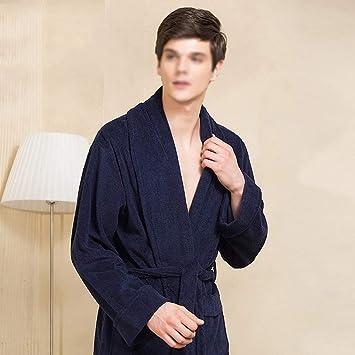 Albornoz, Albornoz de Color sólido para Hombres, Bata de algodón Suave Extra Larga, Bata de Hotel: Amazon.es: Hogar