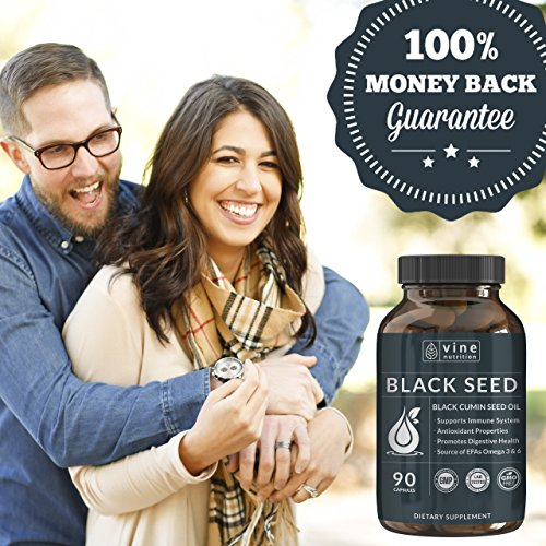 Premium Black Seed Oil Capsules - Nigella Sativa - Immune System Support Soft Gels | Cold Pressed Antioxidant Vegetarian Black Cumin Supplement | 500MG Made In The USA By Vine Nutrition by Vine Nutrition (Image #3)