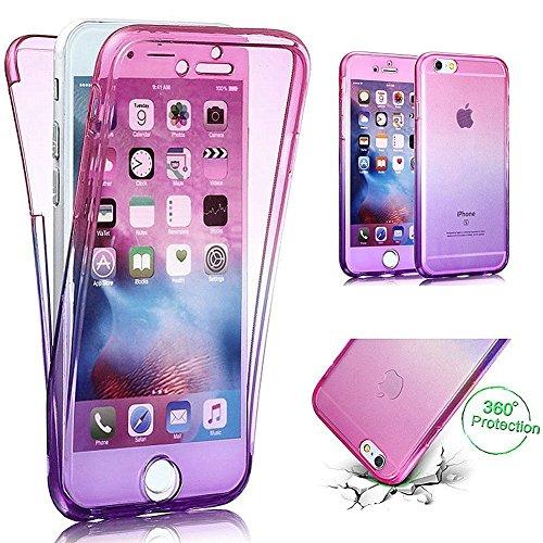 Carcasa para Apple iPhone 7/iPhone 8 (4.7), Funda iPhone 7/iPhone 8 360 Grados, EUWLY Full Body Delantera y Trasera Doble Protección Completa Cover Caso Ultra Delgado Degradado de Color Diseño Flexib Rosa+Púrpura