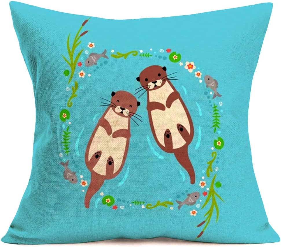 ShareJ Cartoon Animal Otter Baby Cotton Linen Throw Pillow Covers Home Decor Cushion Cover Pillow Cases for Sofa Couch 18 x 18 Inch, Blue