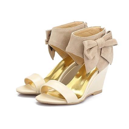 6e86d5f16632 Amazon.com  Genepeg Womens Sandals Purple Pink Summer Ladies Shoes Zipper Wedding  Wedges High Heels  Sports   Outdoors