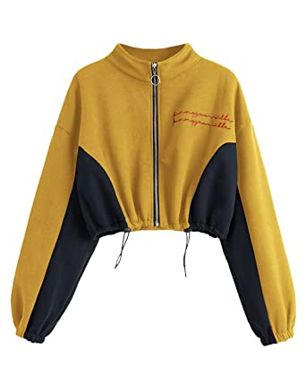 b1be1362 ZAFUL Women's Sweatshirt Jumper Zip Up Tops Long Sleeve Letter Embroidered Crop  Top Hoodies at Amazon Women's Clothing store: