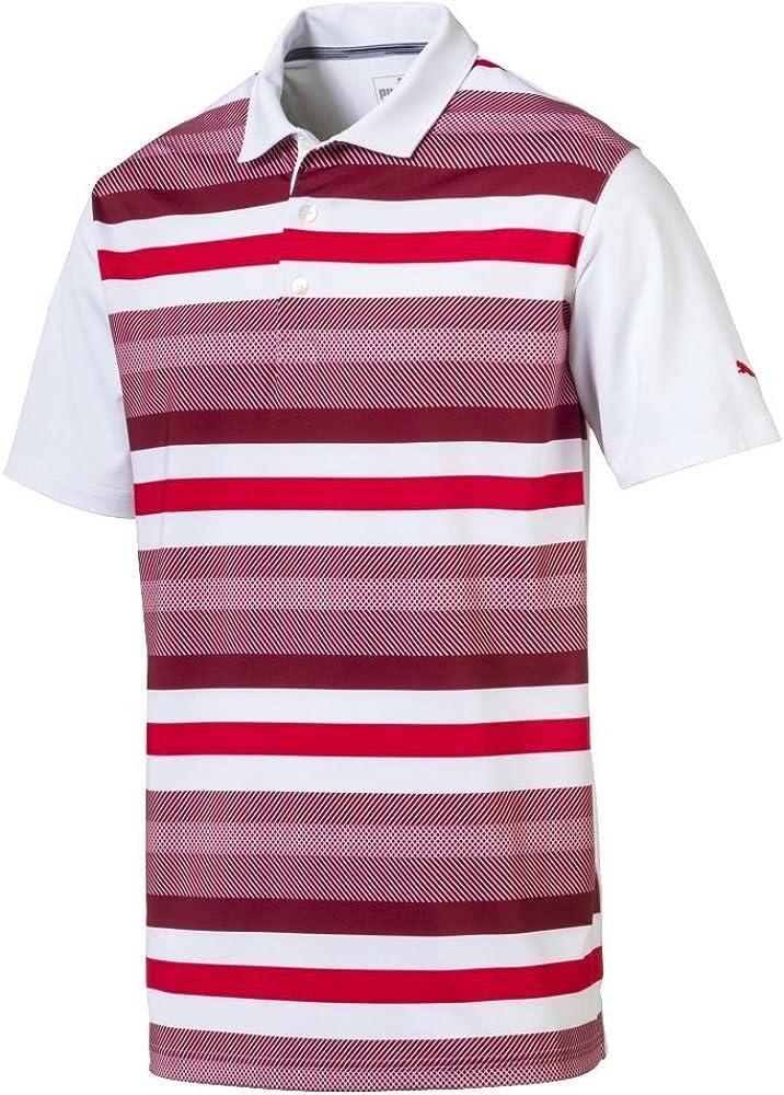 Puma Golf Men's 2018 Turf Stripe Polo, Large, Bright White-Pomegranate