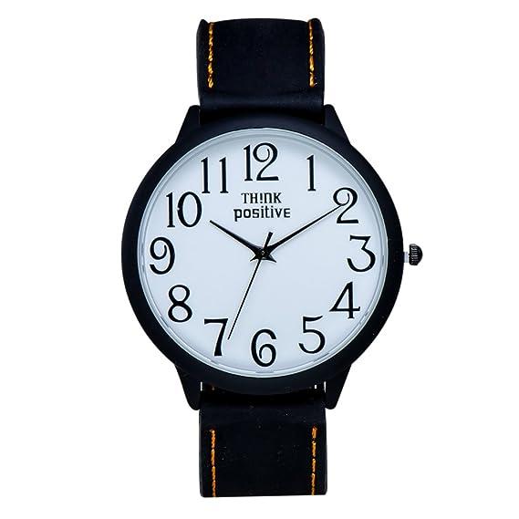 Think positivo - para hombre Big 40 mm negro aceite spray coat analógico Display movimiento de cuarzo reloj de goma de punto de color naranja: Think ...