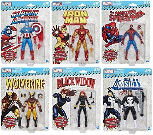 Division Figure Set (Marvel Legends Vintage Action Figure Collection Set of 6 - Spiderman | Black Widow | Captain America | Iron Man | Wolverine | Punisher)