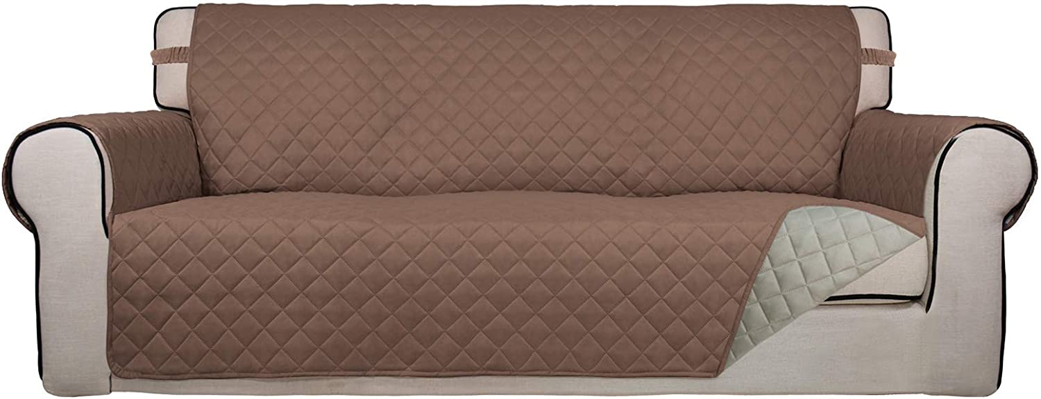 PureFit Reversible Quilted Sofa Cover, Water Resistant Slipcover Furniture Protector, Washable Couch Cover with Non Slip Foam and Elastic Straps for Kids, Dogs, Pets (Sofa, Brown/Beige)