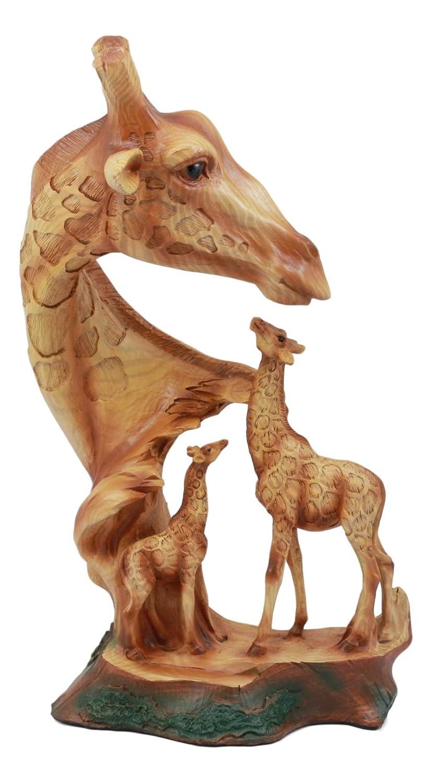 Ebros Safari Giraffe Bust Statue 12'Tall Faux Wood Resin Giraffe Family in Wilfdlife Savanna Scene Figurine Ebros Gift
