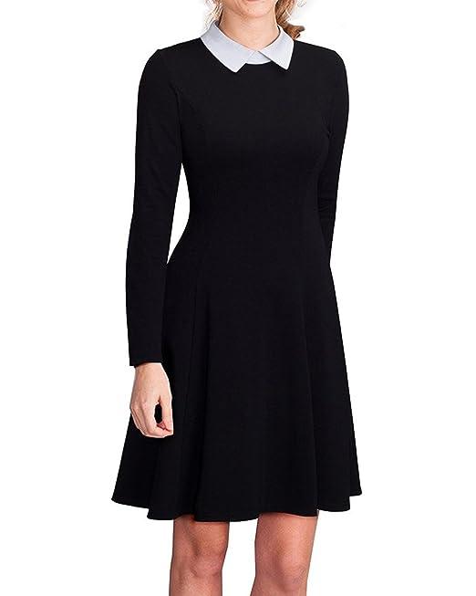 Kenancy Mujer Vintage Vestido Fiesta Coctel sin Manga Cuello de Solapa Talla Grande Negro 2XL