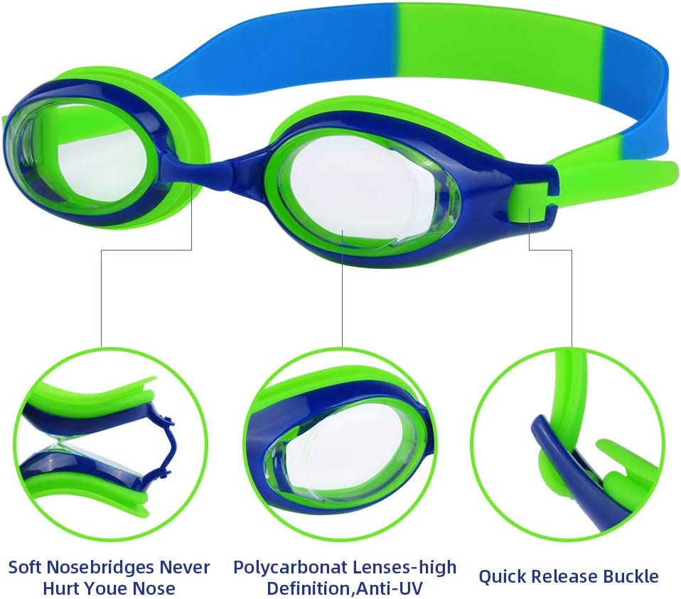 No Leaking Anti-Fog Waterproof Crazypicky Swimming Goggles for Kids and Early Teens from 3 to 15 Years Old