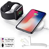 UGI Wireless Charger Pad Stand 2-in-1 Cable Fast Charging Compatible iPhone X 8 8 Plus, iWatch Series 1/2/3, 38mm 42mm, Samsung S8 Series, Note 8 All Qi-Enabled Devices