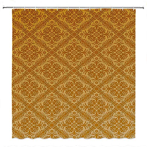 SATVSHOP Shower Curtain Decor-Heavy Weighted and Waterproof-Floral Antique Checked Pattern Squar with Ancient Floral Ornamental Details etro Damask Apricot Gold.W60 x L72 inch