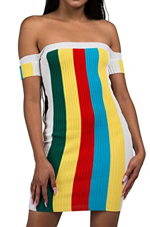 8eaf9d8e1f0b AKIRA Women s Colorblock Ribbed Rainbow Off Shoulder Short Sleeve Stretch  Bodycon Fitted Mini Dress-White