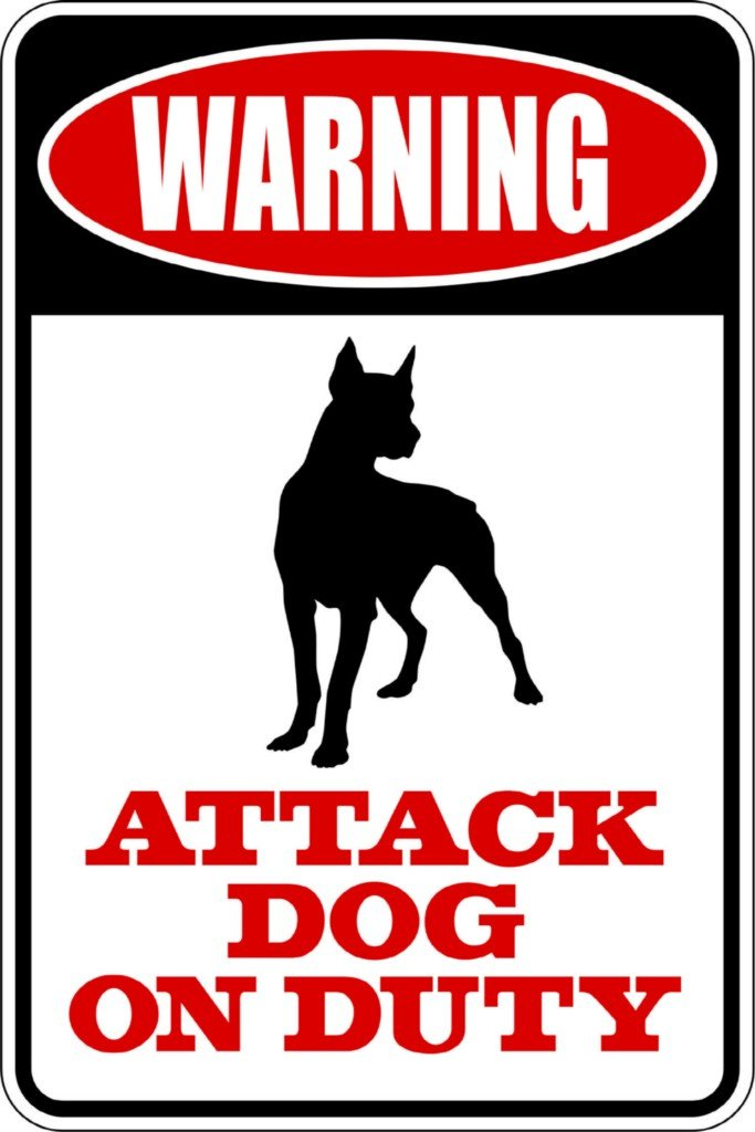 Top Selling Decals - Prices Reduced : WARNING SIGN Attack Dog On Duty – Animal Picture Art - Size : 8 Inches X 16 Inches - Vinyl Wall Sticker - 22 Colors Available by Design with Vinyl