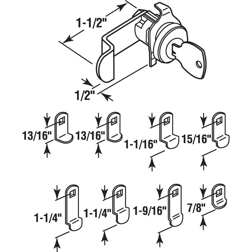 Diecast Construction Mailbox Lock Nickel Plated Finish Locks Counter Clockwise Rotation 9 Cams 11//16 Inch Diameter