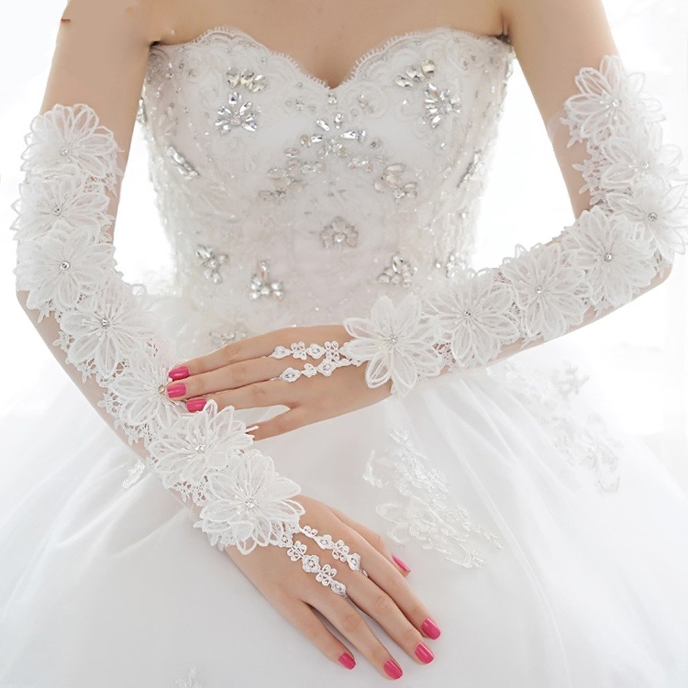 KHSKX-Bridal Gloves, Long Hair, Pointed Flowers, Lace, Wedding Gloves, Wedding Dresses, Accessories