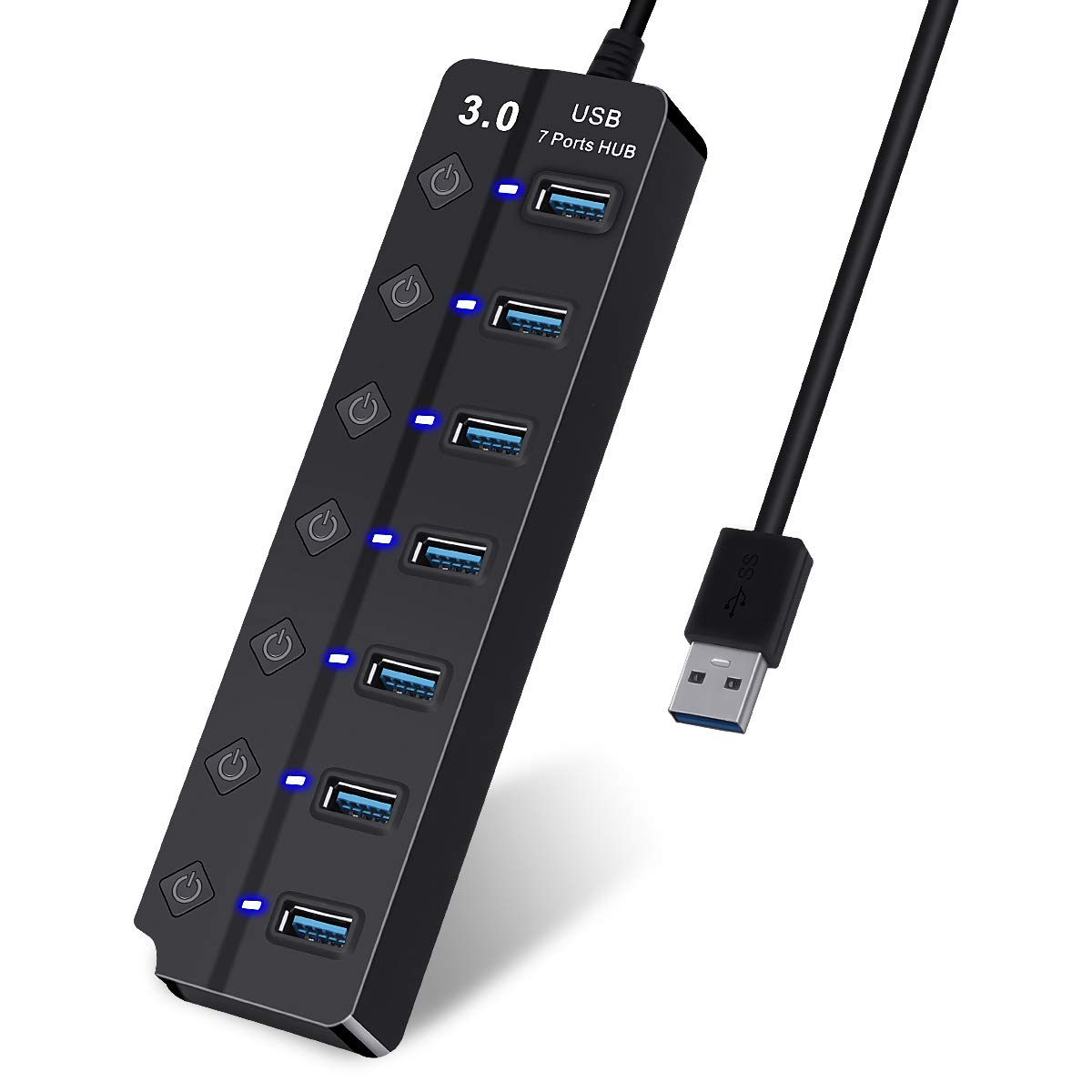 USB Hub USB 3.0 Ports Hubs Data Hub, Individual On/Off Switches,for MacBook, Mac Pro/Mini, iMac, Surface Pro, XPS, PC, Flash Drive (7-in-1) by asuku