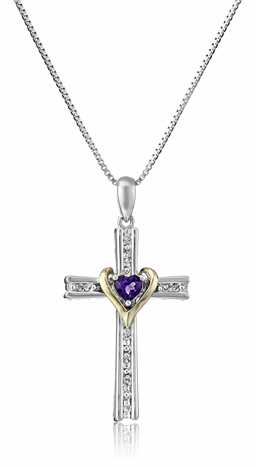 f32552a674cb2 Sterling Silver and 14k Gold Cross Pendant Necklace, 18