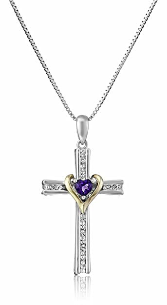 9ec08c4ce Sterling Silver and 14k Gold Amethyst Heart and Diamond-Accent Cross  Pendant Necklace, 18""