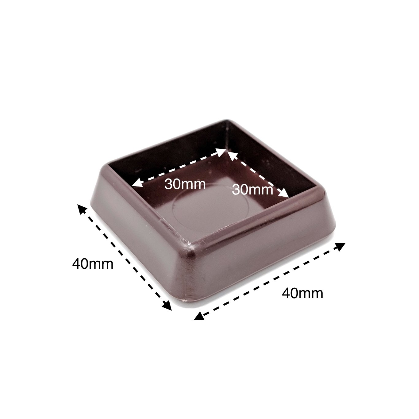 Clear-Inside 50x50mm- Outside 60x60mm- See 2nd Image for Dimensions Pack of 12 Square Castor Cups -Not Suitable for Metal Castors,Please Make Sure Weight is distributed evenly.Made in Germany