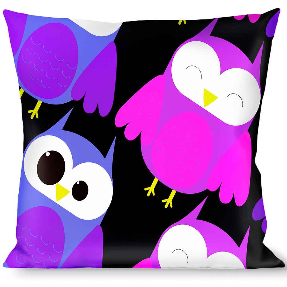 Buckle Down Owl Eyes Black//Purples//Pinks Throw Pillow Multicolor