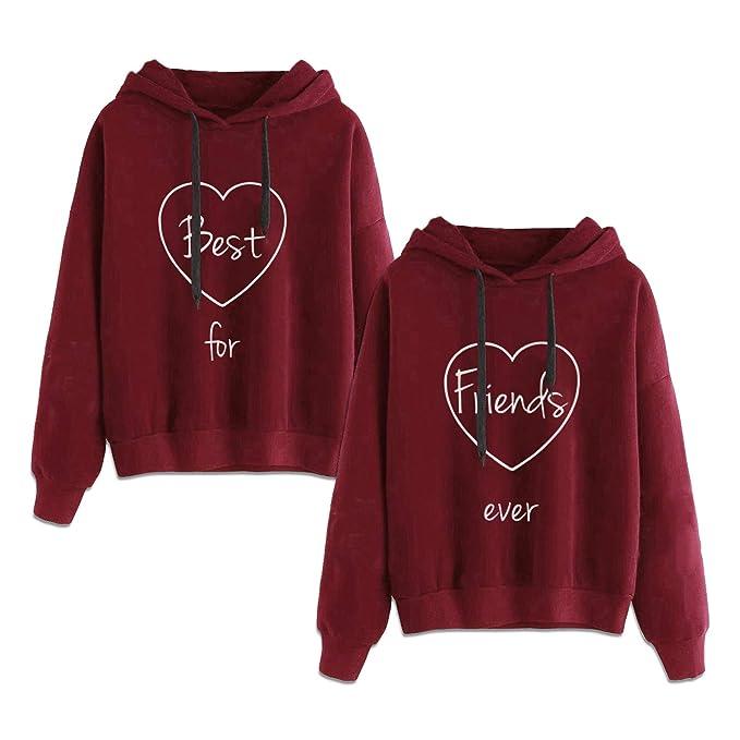 Matching Hoodies for Best Friends Girl BFF Jumper Sweatshirt 2 Pcs