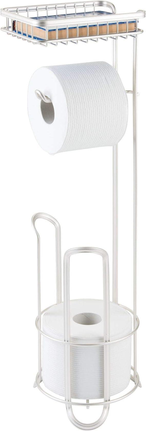 Portarrollos de Papel Higi/énico con Repisa Aluminio Portarrollos para Papel Higi/énico Estante de Tel/éfono Adhesivo and Taladro para Ba/ño Cocina