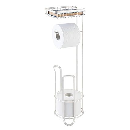 mDesign Portarrollos de pie de metal para el baño – Accesorios de baño sin taladro –