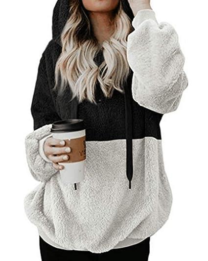 c44450d6bc1 Kenoce Women's Fuzzy Fleece Hoodie Long Sleeve Zip Up Hooded Sweatshirt  Sherpa Pullover Hoodies Outwear Coat with Pockets