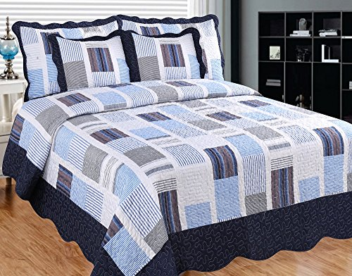 Patch Magic Miles and Miles Quilt Set with 2 Shams, King,...