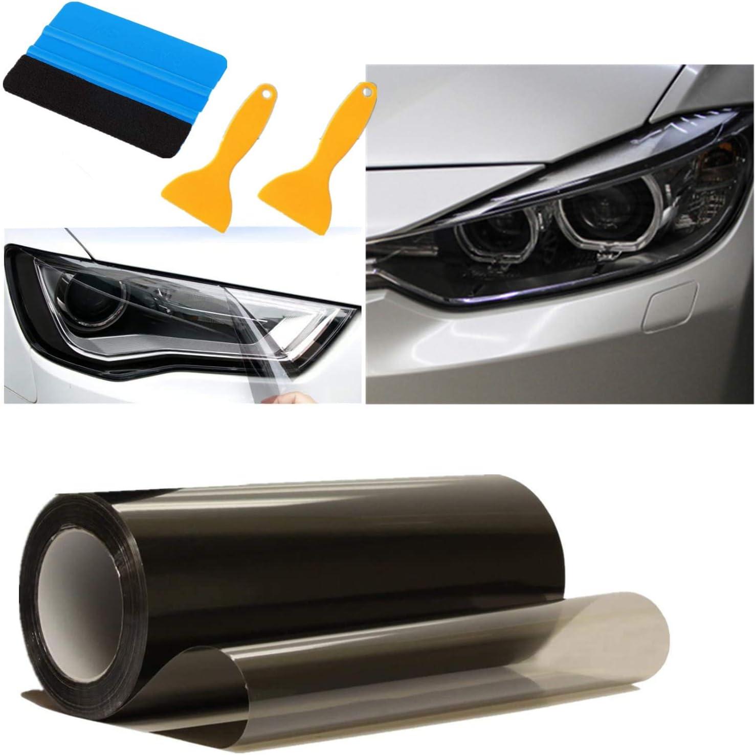 Mioke Auto Scheinwerfer Folie 300c 30cm Tönungsfolie Aufkleber Cheinwerfer Nebelscheinwerfer Rücklicht Vinyl Farbe Zubehör Schwarz Auto