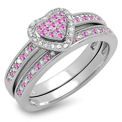 b4f452bb0095 DazzlingRock Collection 10 K Oro Blanco Redondo Rosa Sapphire y Blanco  Diamond señoras Novia en Forma de corazón Anillo de Compromiso Conjunto   Amazon.es  ...