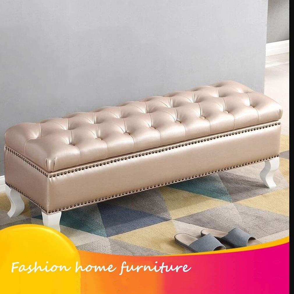 gzz Nordic Folding Storage Ottoman Bench Kunstleder Knopf Getuftet , Aufbewahrungstruhe/Fußstütze/Gepolsterter Sitz,B,105cm